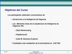 Introducción al Business Intelligence de SAP. Curso online de 156 minutos. Explicación de objetivos.