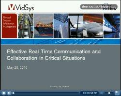 Comunicación efectiva en tiempo real y y Colaboración en situaciones críticas. Webinar de VidSys.